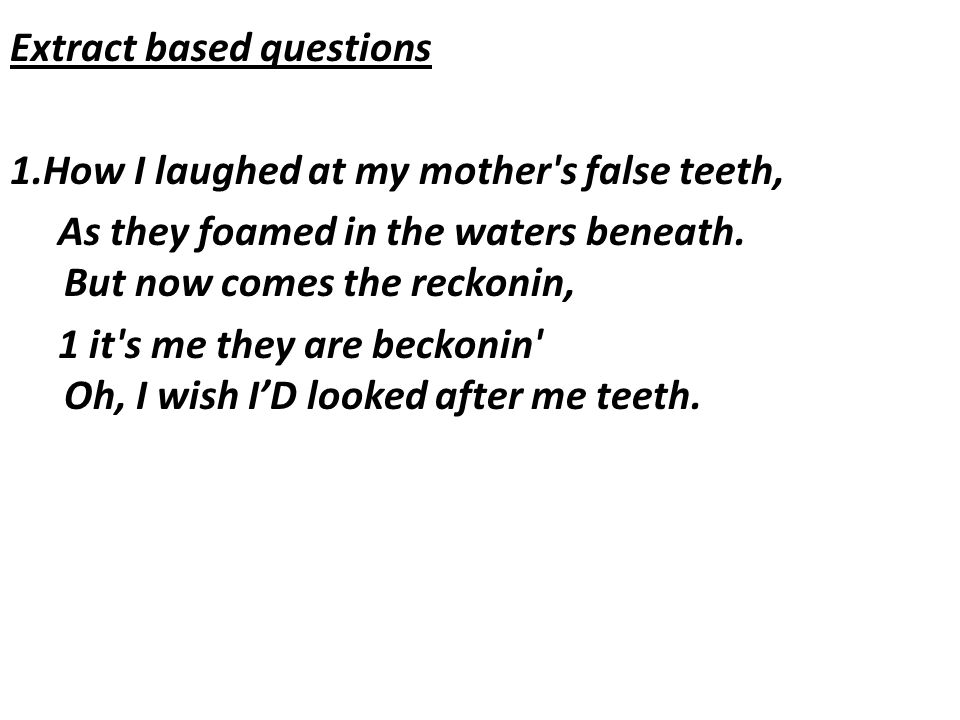 Extract based questions 1