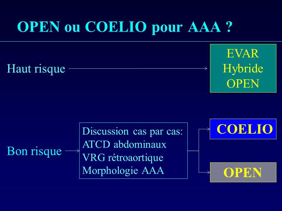 OPEN ou COELIO pour AAA COELIO OPEN EVAR Hybride OPEN Haut risque