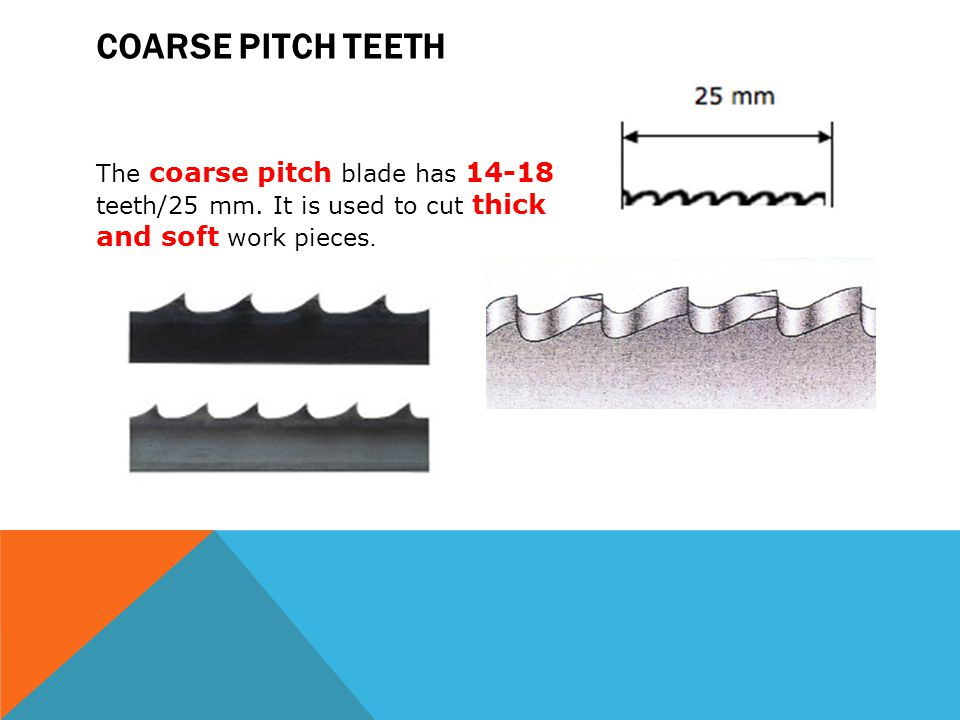 Coarse pitch teeth The coarse pitch blade has teeth/25 mm.