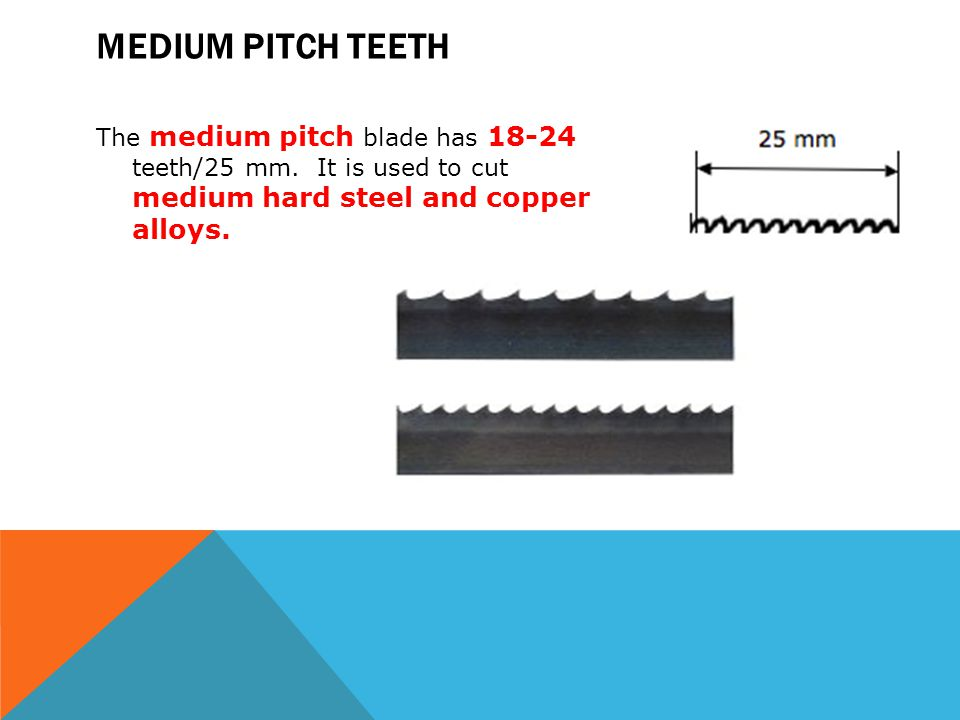 Medium pitch teeth The medium pitch blade has teeth/25 mm.
