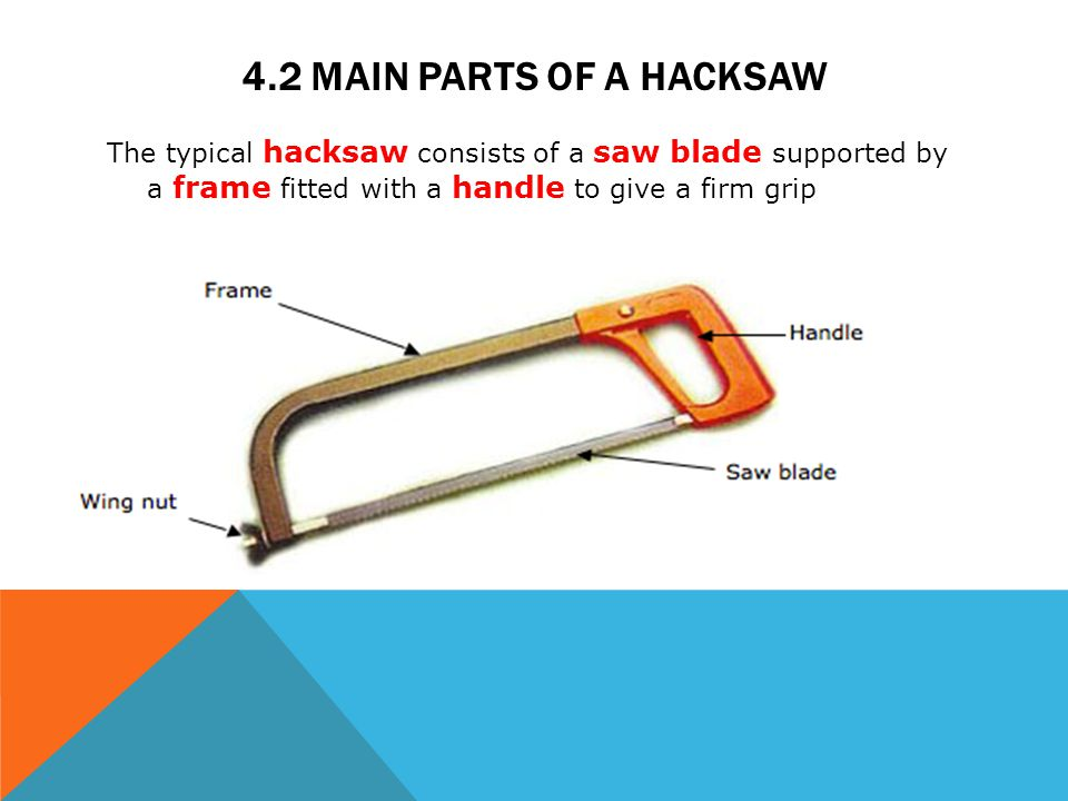 4.2 Main parts of a hacksaw The typical hacksaw consists of a saw blade supported by a frame fitted with a handle to give a firm grip.