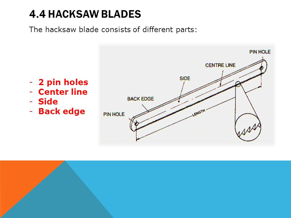 Module 4 hacksaws mechanical workshop ppt video online download 44 hacksaw blades 2 pin holes center line side back edge greentooth Choice Image