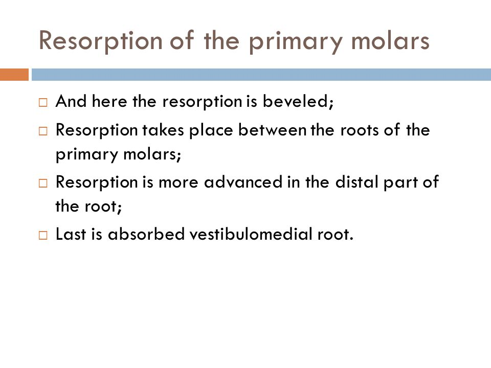 Resorption of the primary molars