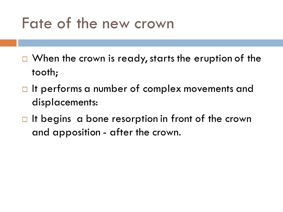 Fate of the new crown When the crown is ready, starts the eruption of the tooth; It performs a number of complex movements and displacements: