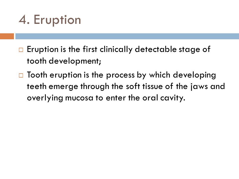 4. Eruption Eruption is the first clinically detectable stage of tooth development;