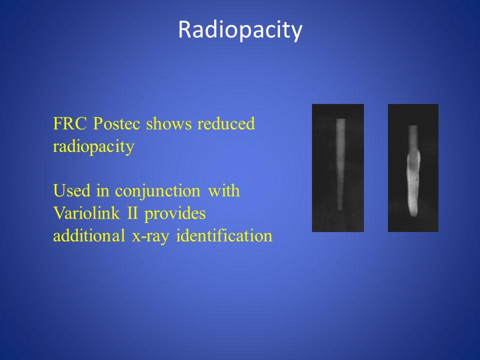 Radiopacity FRC Postec shows reduced radiopacity