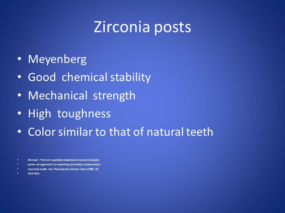 Zirconia posts Meyenberg Good chemical stability Mechanical strength