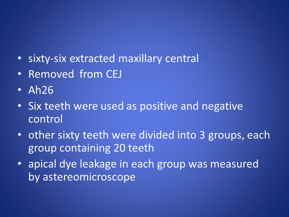 sixty-six extracted maxillary central