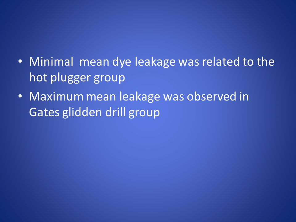 Minimal mean dye leakage was related to the hot plugger group