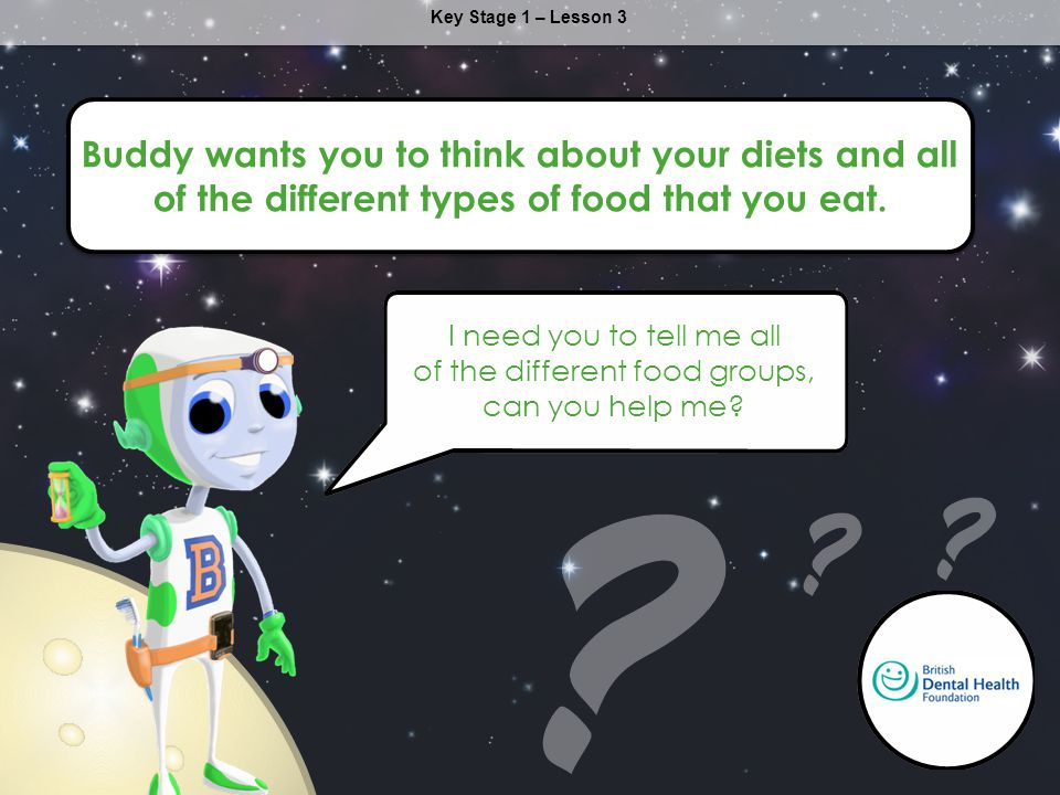 Buddy wants you to think about your diets and all of the different types of food that you eat.