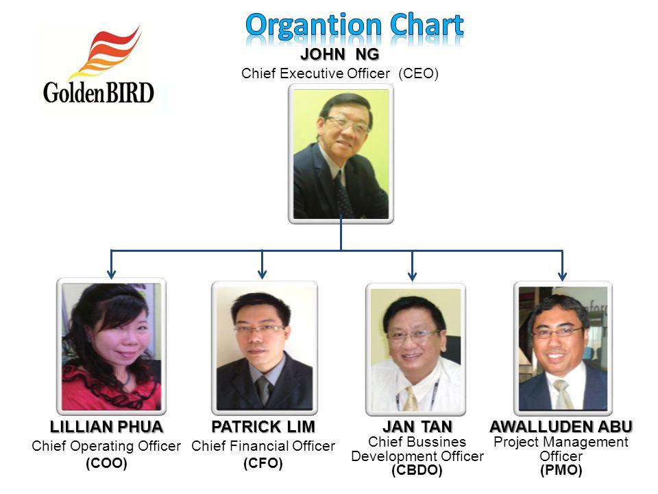 Organtion Chart JOHN NG LILLIAN PHUA PATRICK LIM JAN TAN AWALLUDEN ABU