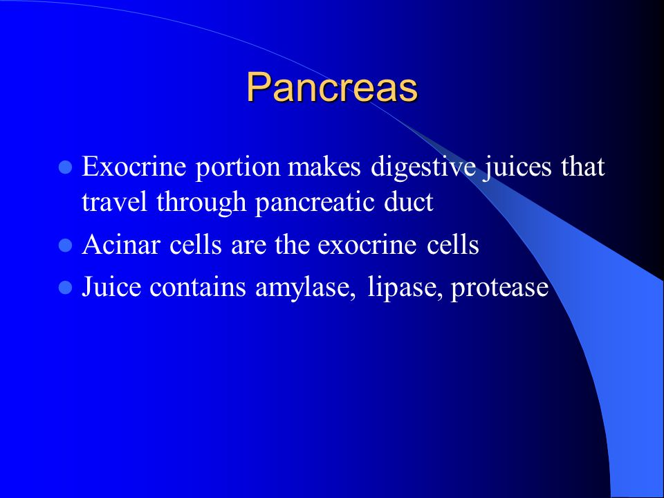 Pancreas Exocrine portion makes digestive juices that travel through pancreatic duct. Acinar cells are the exocrine cells.