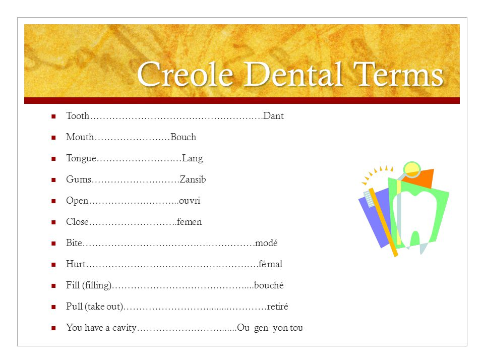 Creole Dental Terms Tooth……………………………………………….Dant Mouth……………………Bouch