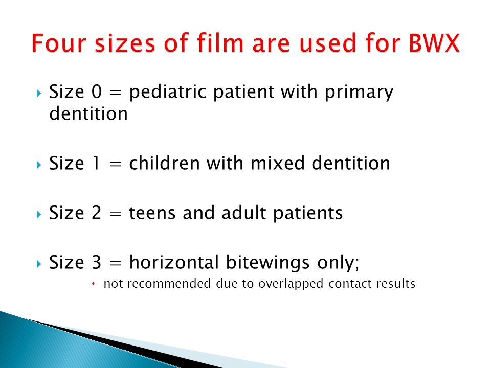 Four sizes of film are used for BWX