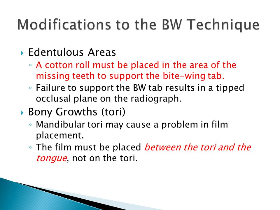 Modifications to the BW Technique