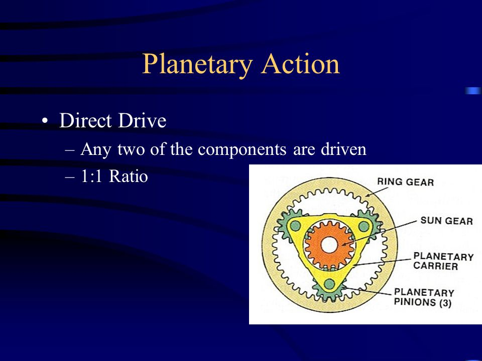 Planetary Action Direct Drive Any two of the components are driven