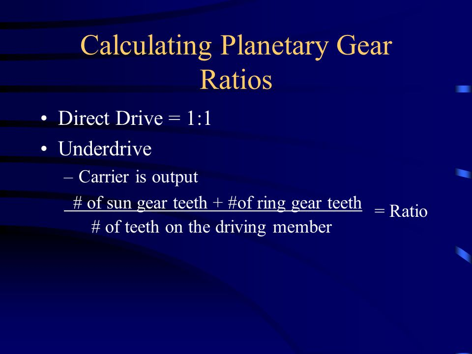 Calculating Planetary Gear Ratios