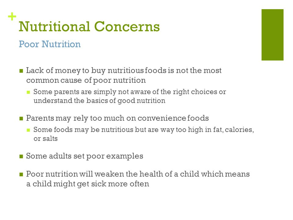 Nutritional Concerns Poor Nutrition