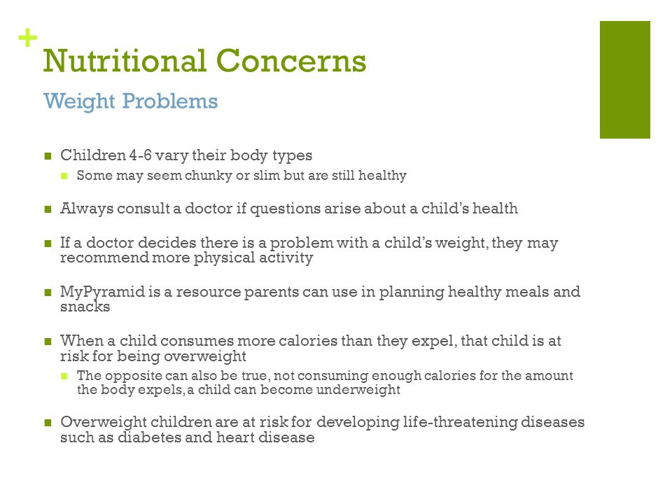 Nutritional Concerns Weight Problems
