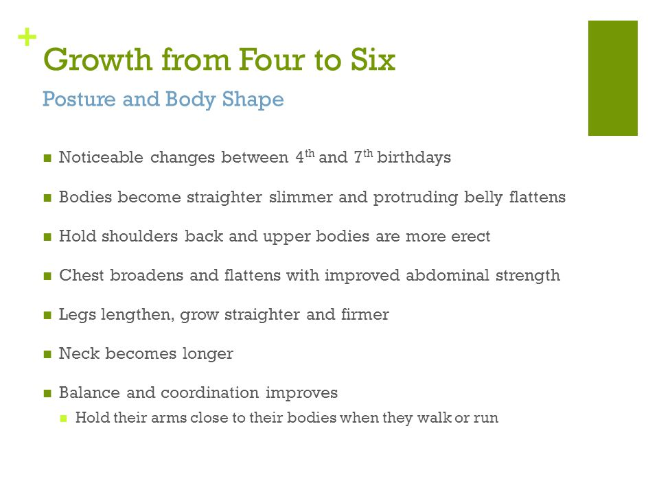 Growth from Four to Six Posture and Body Shape