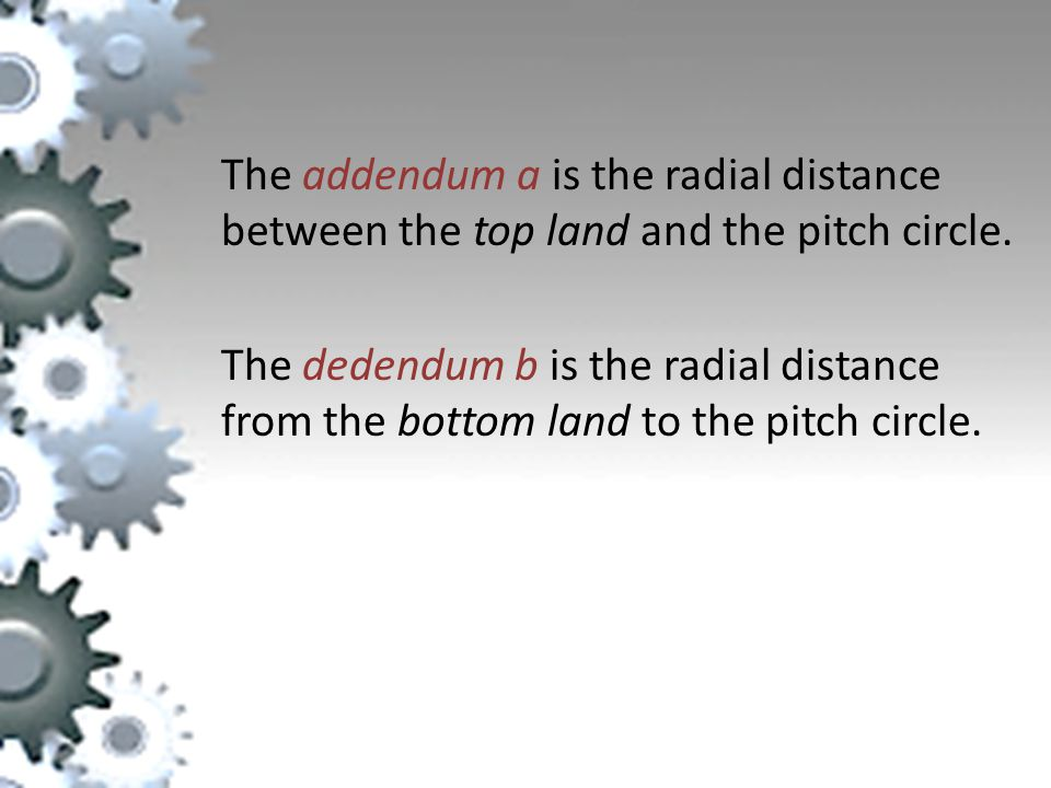 The addendum a is the radial distance between the top land and the pitch circle.