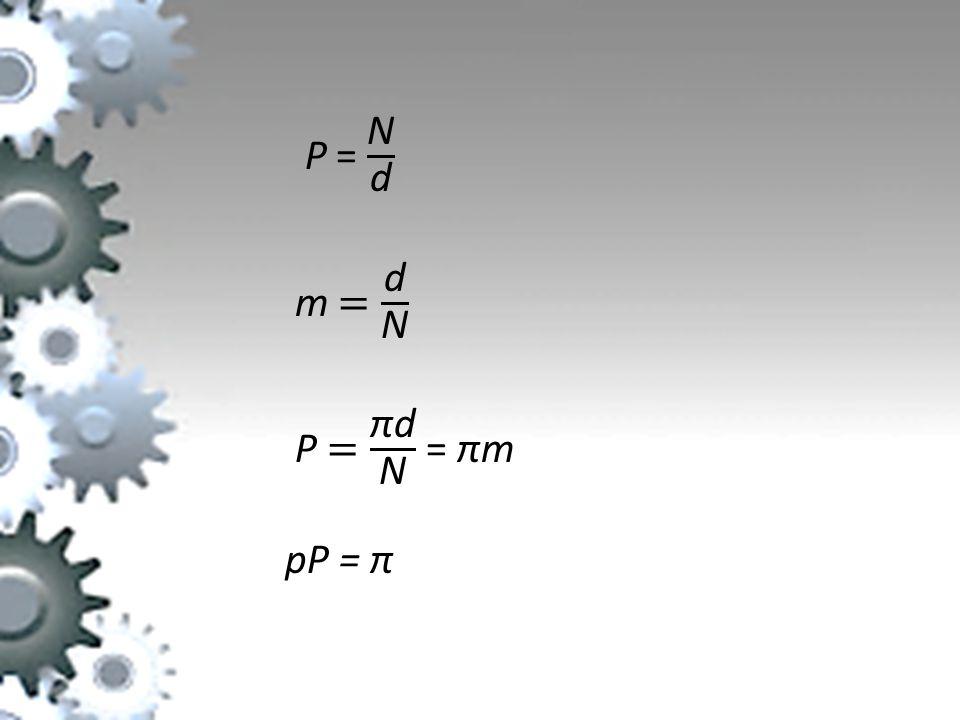 P = N d m = d N P = πd N = πm pP = π