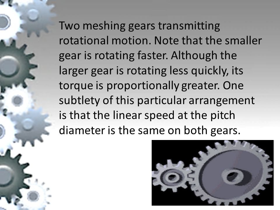 Two meshing gears transmitting rotational motion