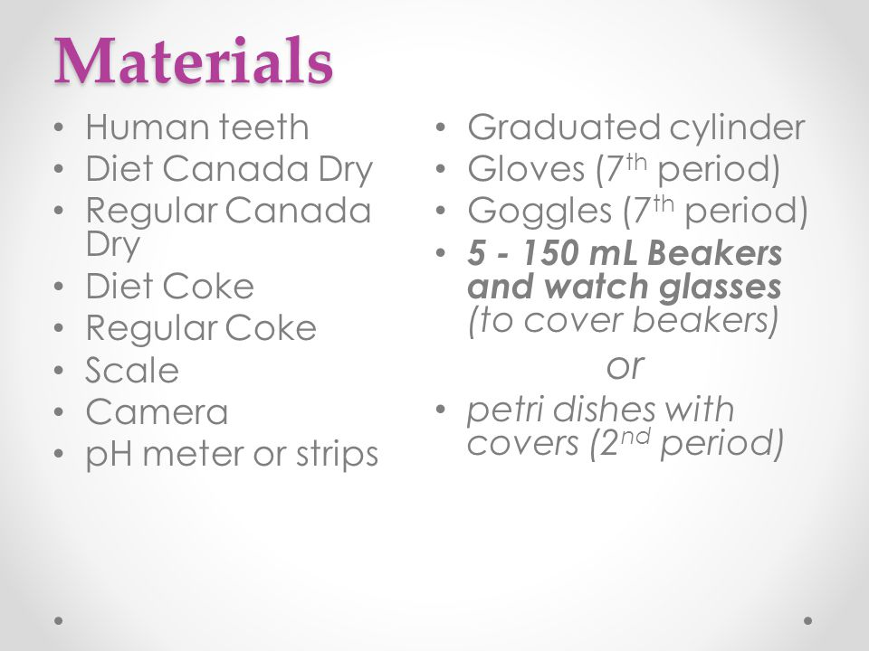 Materials or Human teeth Graduated cylinder Diet Canada Dry