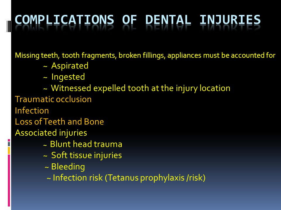 Complications of Dental Injuries