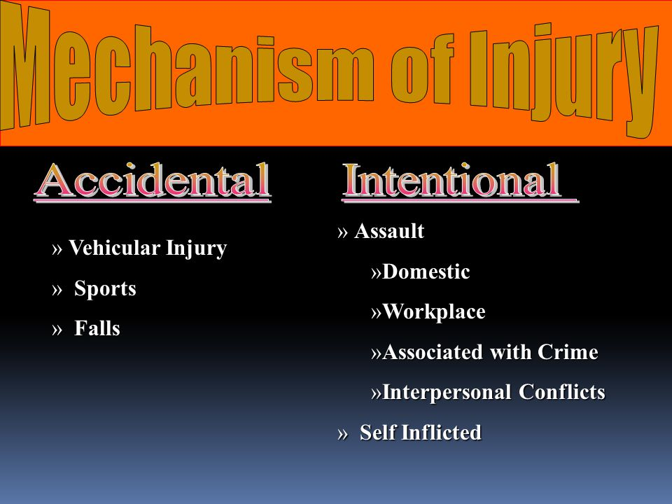 Mechanism of Injury Accidental Intentional Assault Domestic