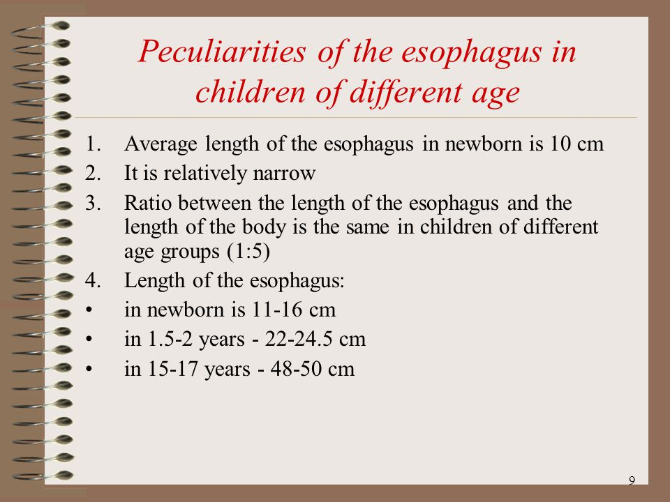 Peculiarities of the esophagus in children of different age