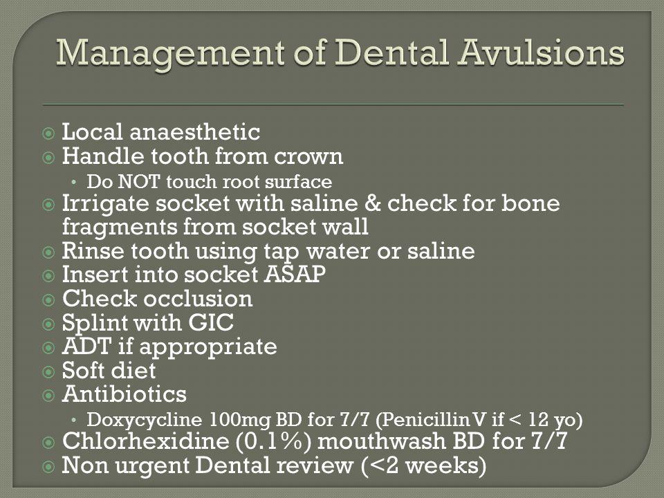 Management of Dental Avulsions