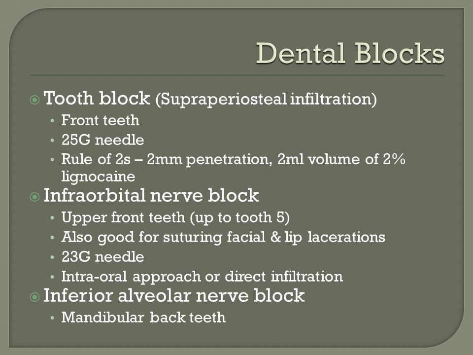 Dental Blocks Tooth block (Supraperiosteal infiltration)