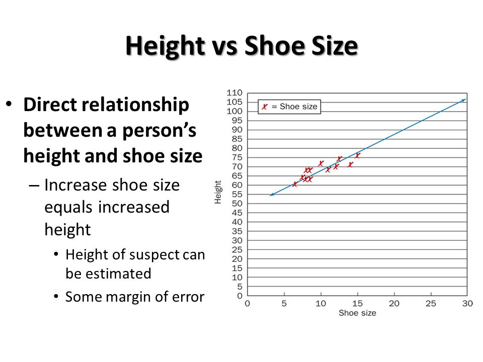 Height vs Shoe Size Direct relationship between a person's height and shoe size. Increase shoe size equals increased height.