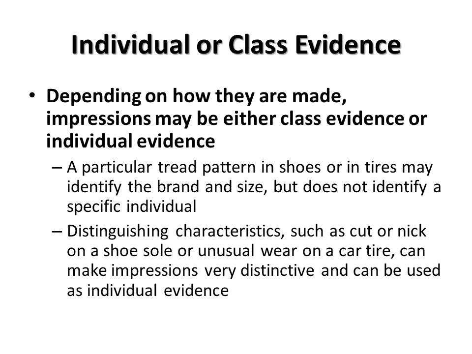 Individual or Class Evidence