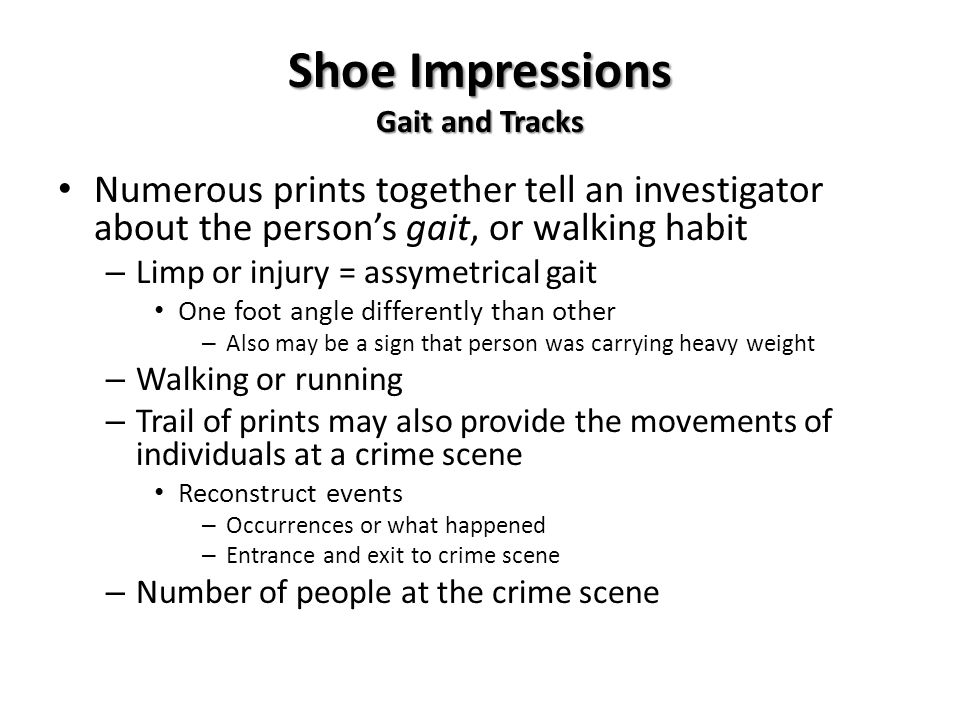 Shoe Impressions Gait and Tracks