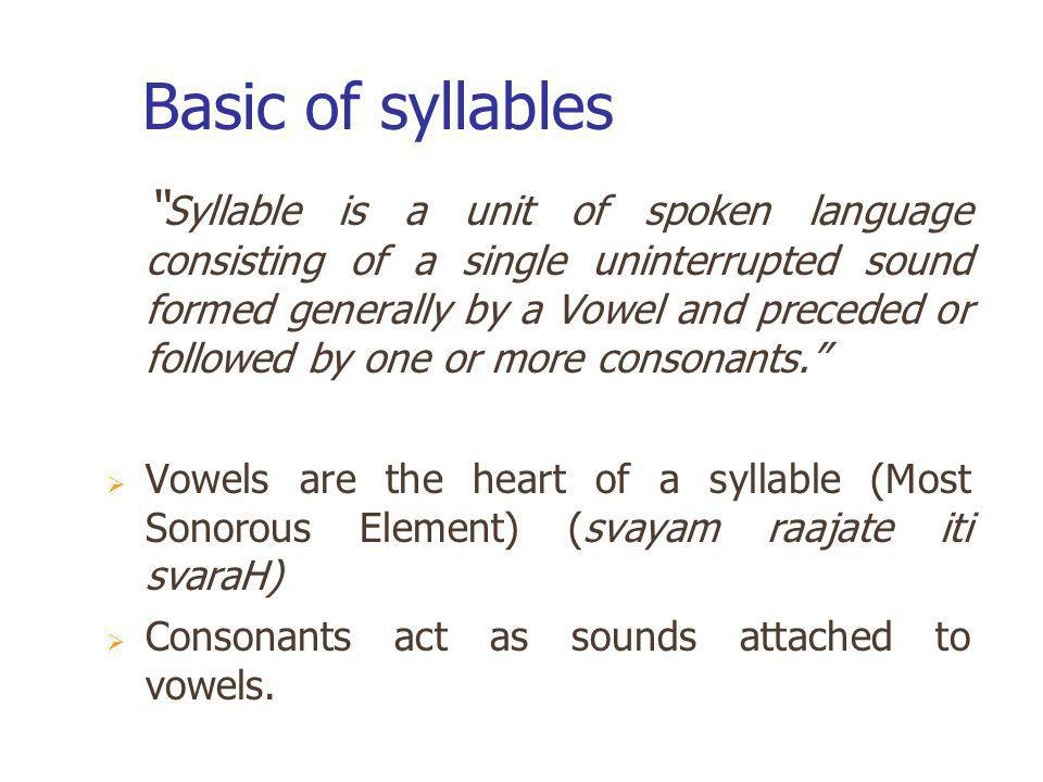 Basic of syllables
