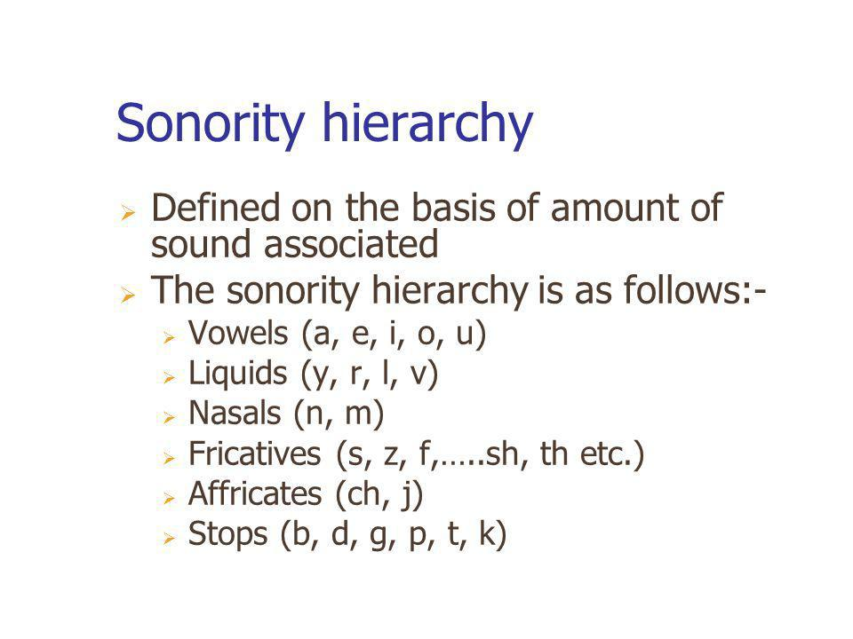 Sonority hierarchy Defined on the basis of amount of sound associated