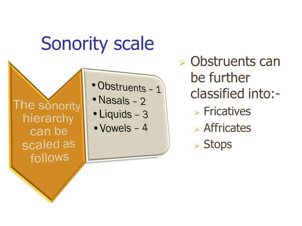 Sonority scale Obstruents can be further classified into:- Fricatives