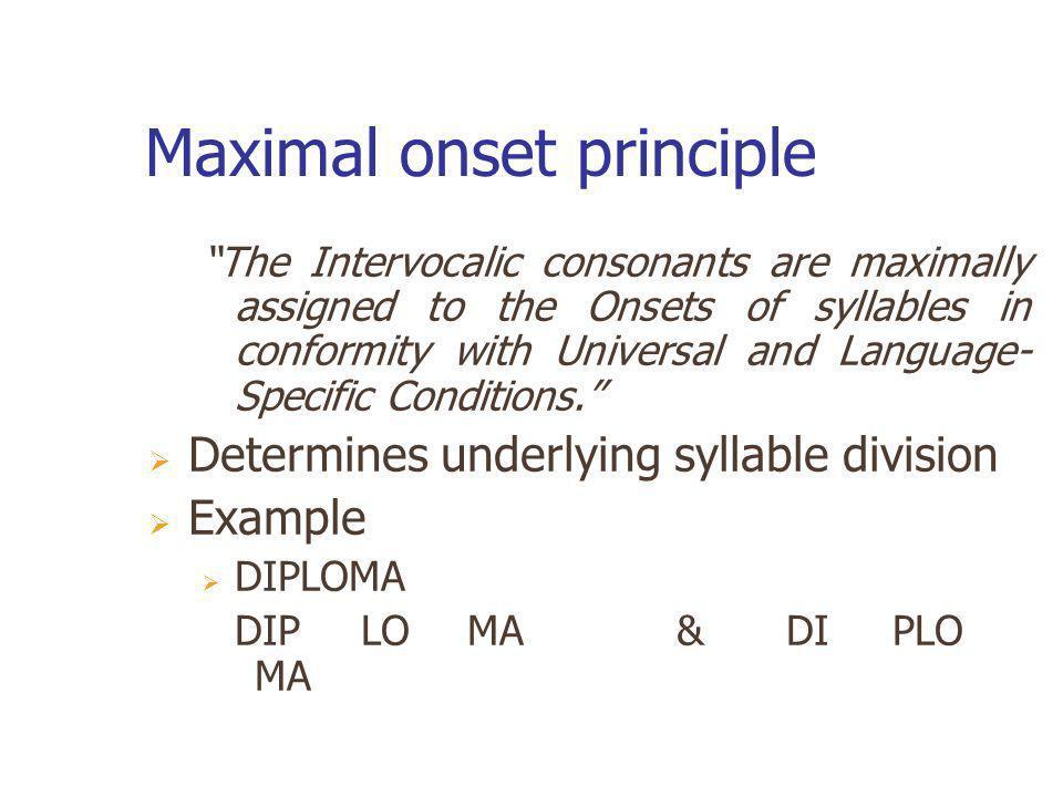 Maximal onset principle