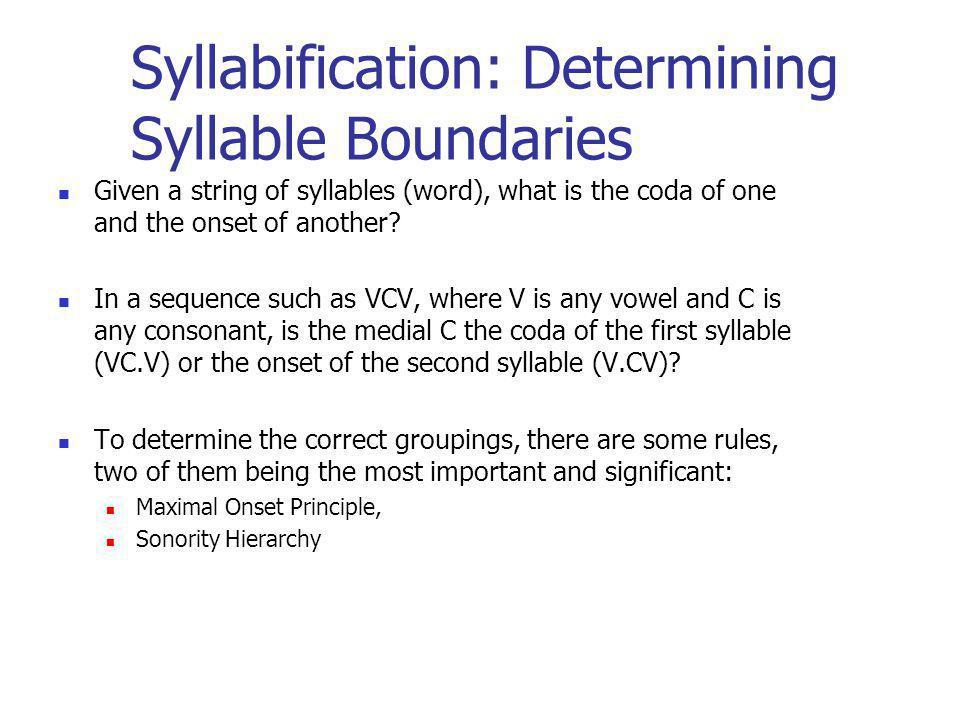 Syllabification: Determining Syllable Boundaries