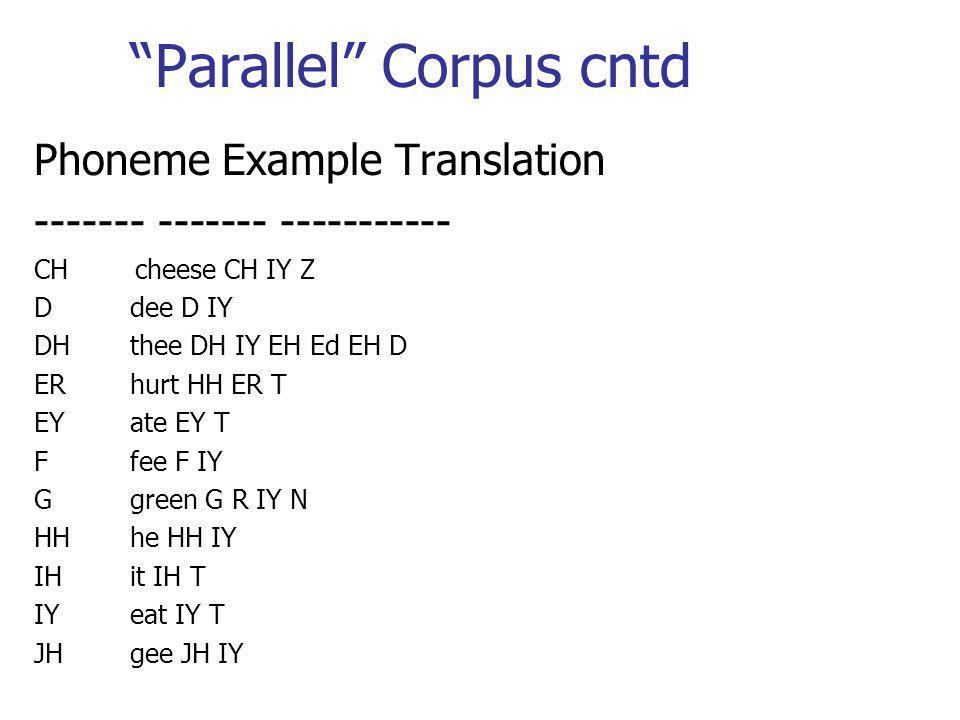 Parallel Corpus cntd