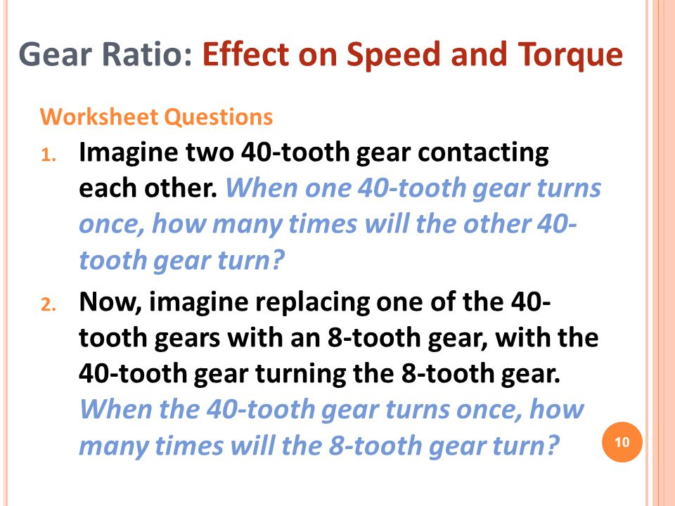 Gear Ratio: Effect on Speed and Torque