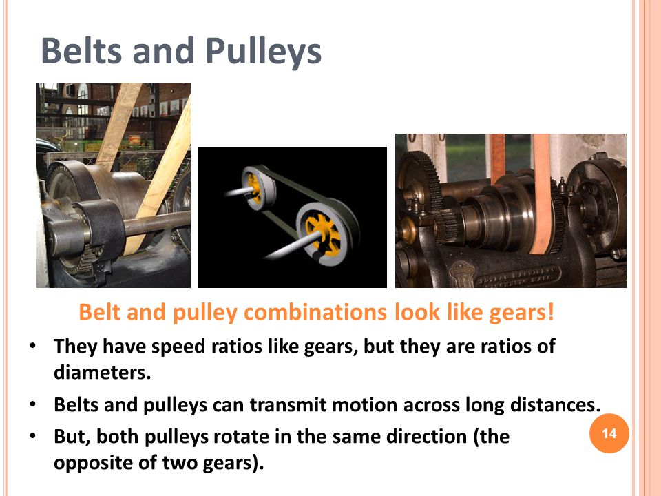 Belt and pulley combinations look like gears!