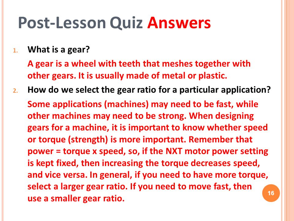 Post-Lesson Quiz Answers