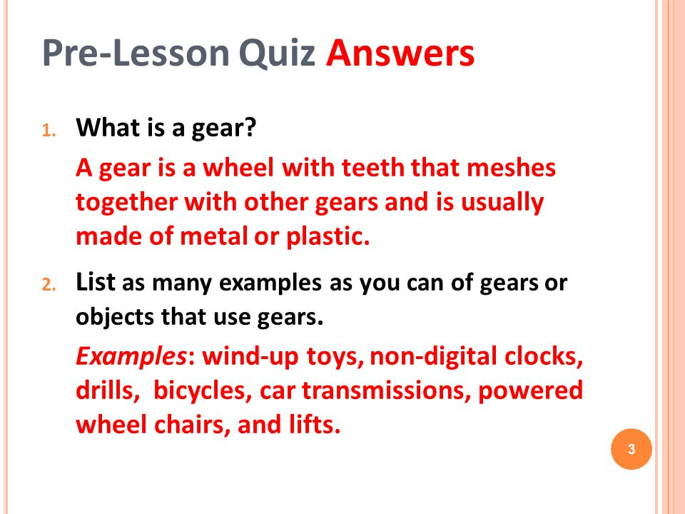 Pre-Lesson Quiz Answers
