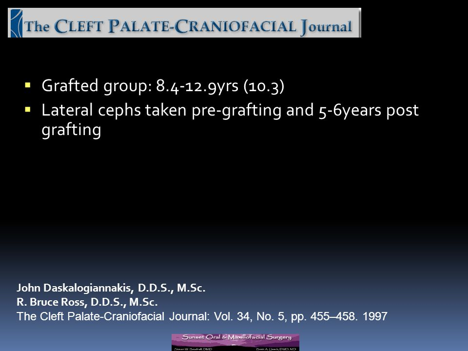 Lateral cephs taken pre-grafting and 5-6years post grafting