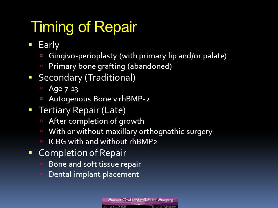 Timing of Repair Early Secondary (Traditional) Tertiary Repair (Late)