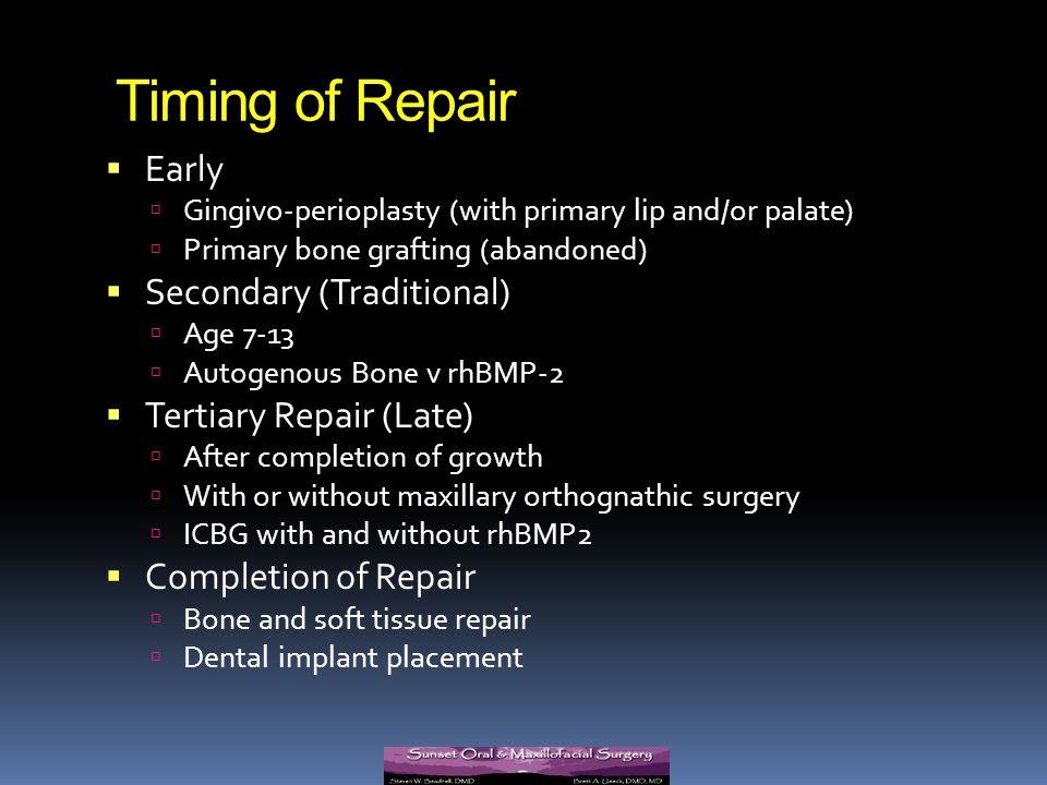 Timing of Repair Early Secondary (Traditional) Tertiary Repair (Late)
