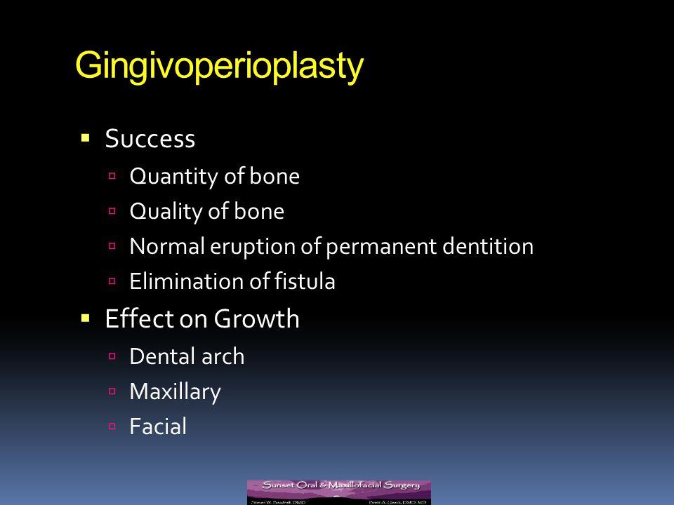 Gingivoperioplasty Success Effect on Growth Quantity of bone